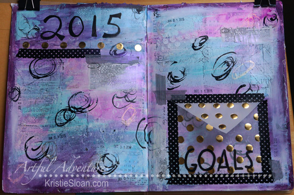 Art Journal page with a pocket to hold goals and resolutions.