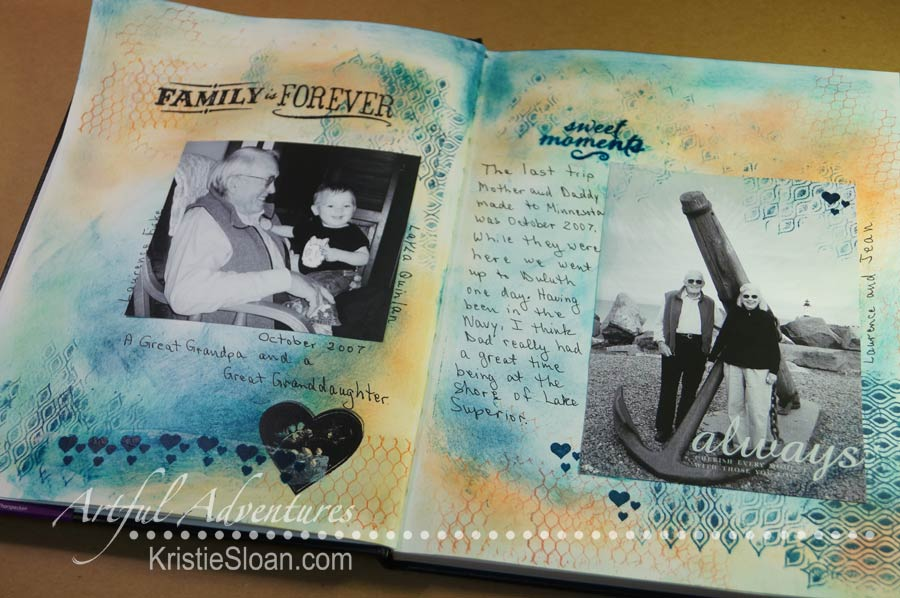 Artful Adventures scrapbook layout using art journaling techniques.