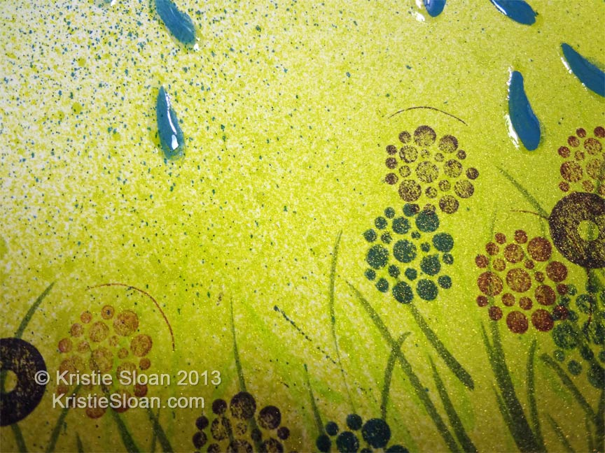 Wispy Grass and Stamped Flowers