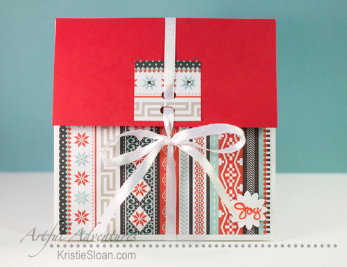 A pretty little CTMH Snow Haven envelope mini-album all tied up!