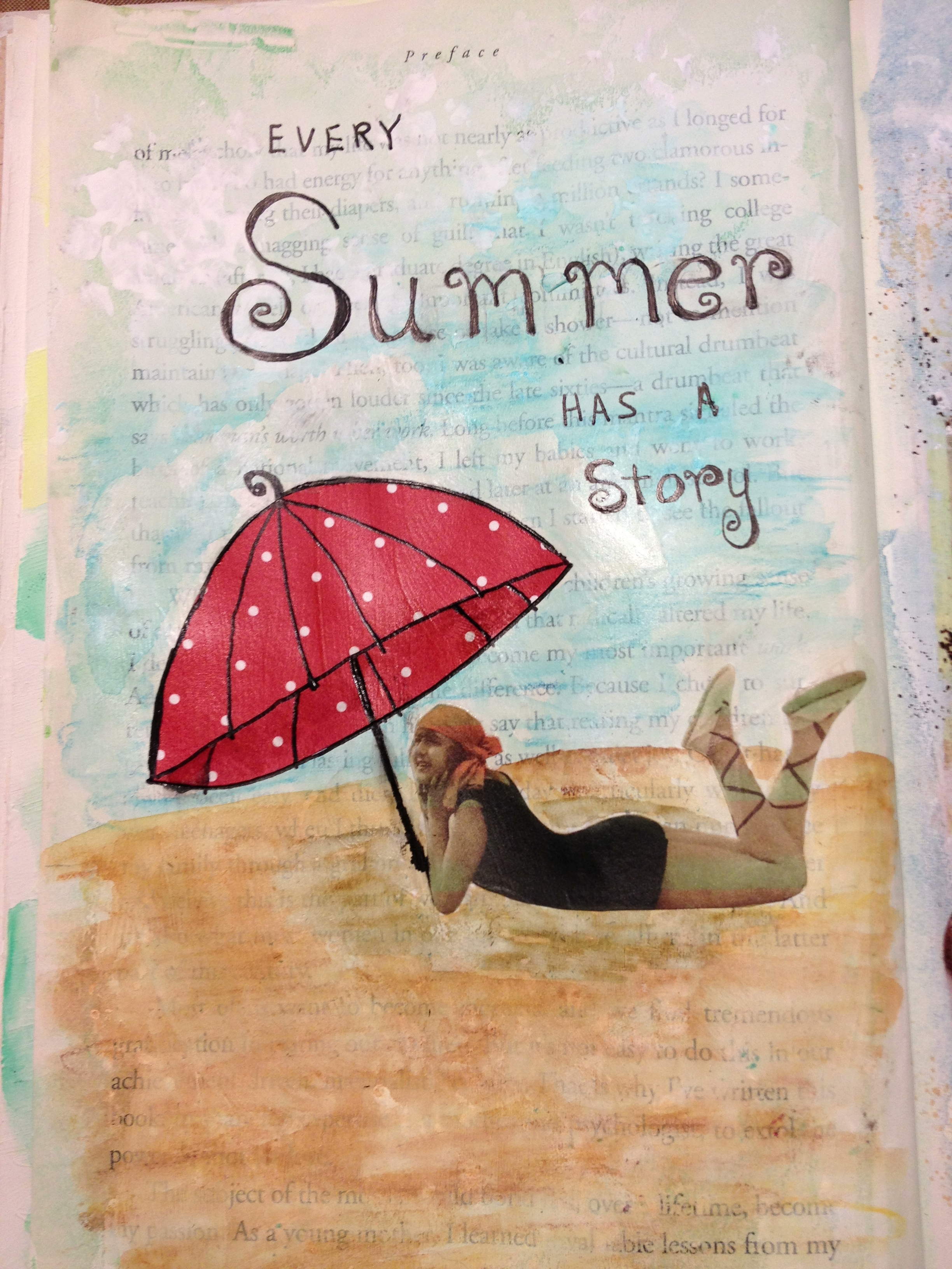 Artful Adventures Summer Story  art journaling page