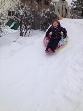 L in snow