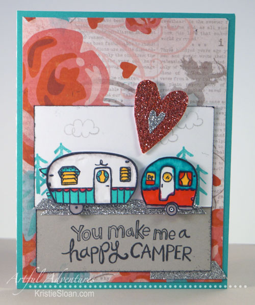 CTMH Camper Crazy Valentine card, using Heartstrings paper pack