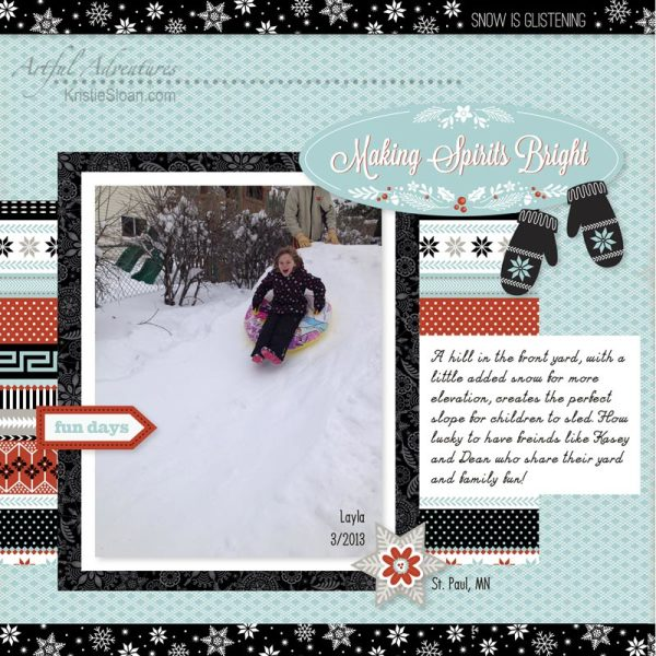 Snowhaven kit in Studio J used for winter scrapbook layout.