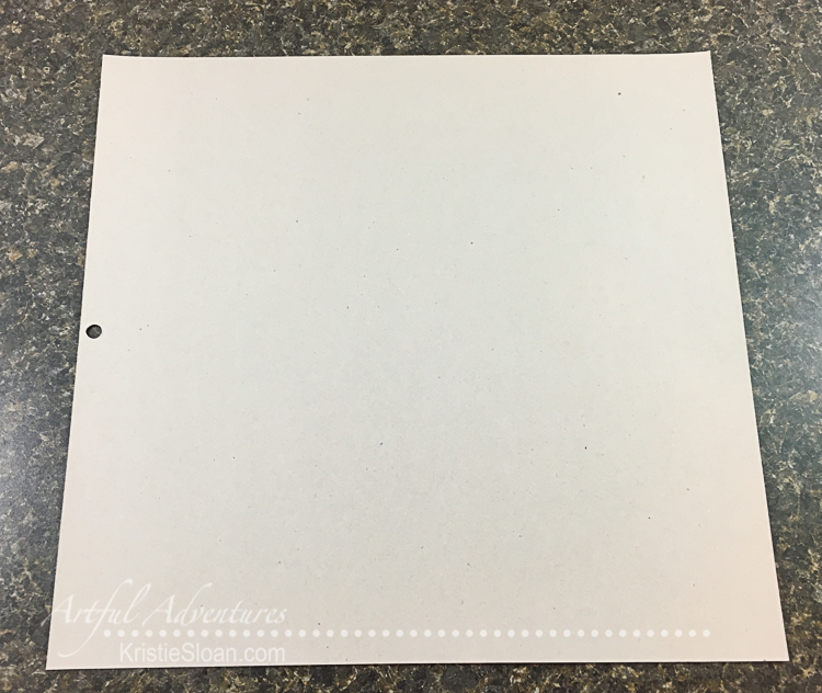 The back of a 12x12 cardstock pad - lightweight chipboard