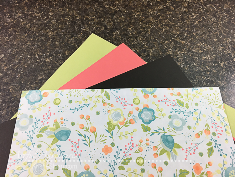 One sheet patterned paper, three sheets of colored cardstock.