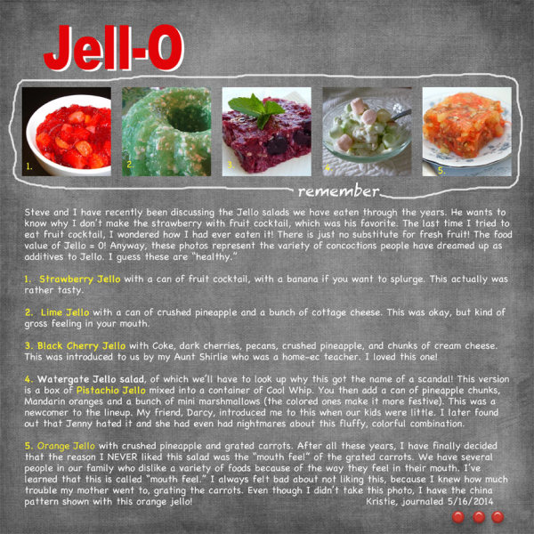 Various Jello dishes and memories of them.