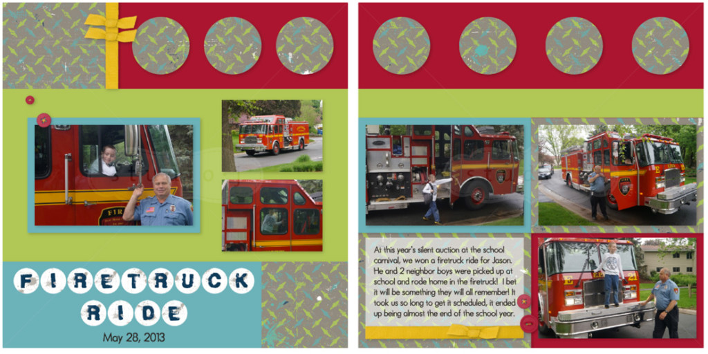 firetruck ride scrapbook layout