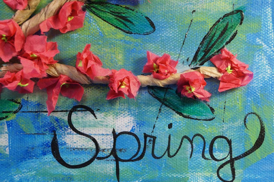 Blossoms completed and the word 'Spring' was added.