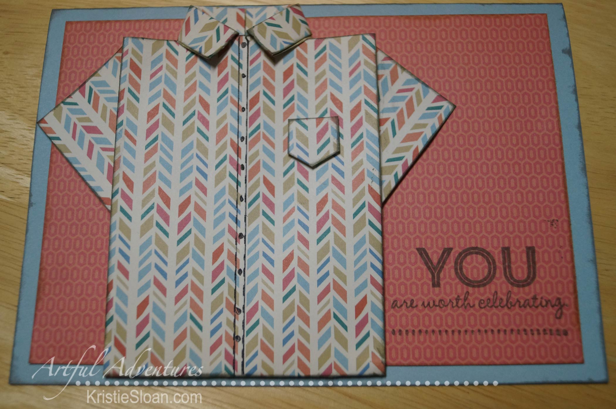 "Folded shirt card with gift card inside, on 5x7"" card base."