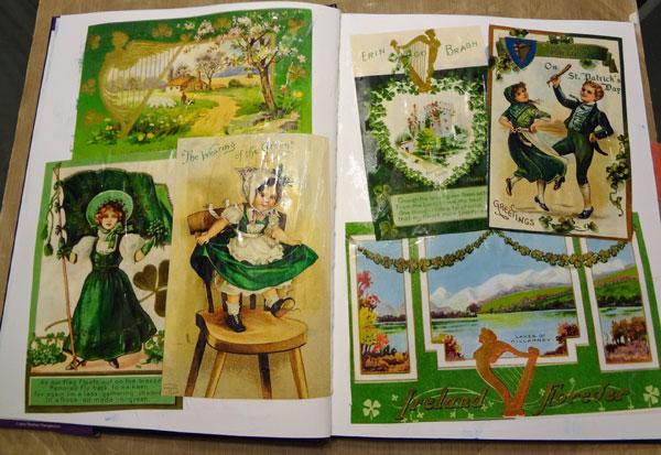 Vintage St. Patrick's Day prints from inkjet printer applied to layout.