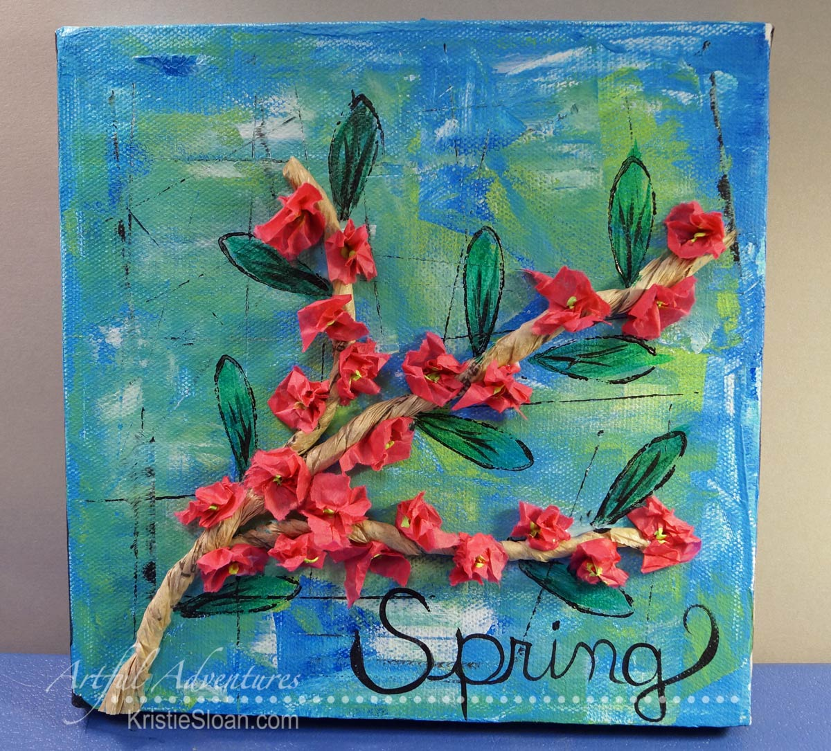 "Spring blossom 8"" x 8"" mixed media canvas."