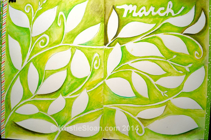 March daily calendar art journal.