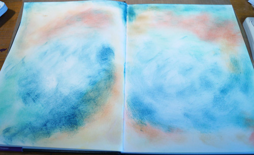 Two facing inked pages for the scrapbook backgrounds
